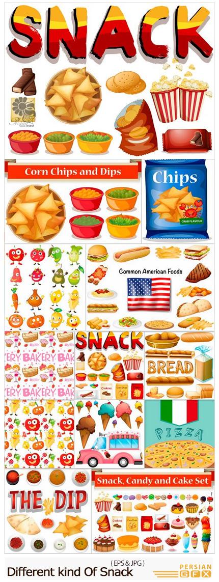 دانلود تصاویر وکتور غذاهای متنوع فست فود، برنج، سبزیجات و ... - Different kind Of Snack