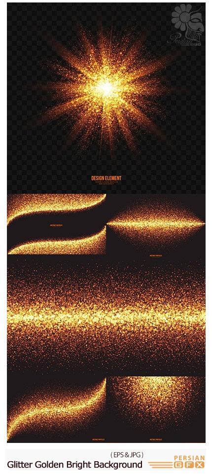 دانلود تصاویر وکتور پس زمینه های نورانی درخشان - Glitter Golden Bright Shine Background