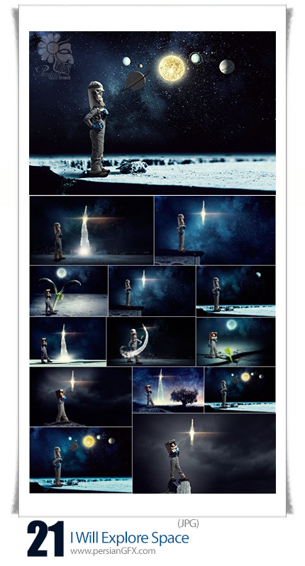 دانلود تصاویر با کیفیت تخیلی جستجو در فضا، فضانورد، فضا، سیاره - I Will Explore Space