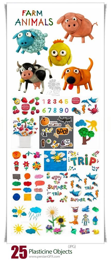 دانلود تصاویر با کیفیت کودکانه اشکال خمیری گل و گیاه،حیوانات و ... - Children Art Is Animal And Objects Fashioned Of Plasticine