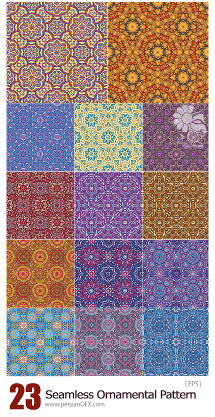 دانلود تصاویر وکتور پترن با طرح های تزئینی متنوع - Seamless Oriental Ornamental Pattern Vector