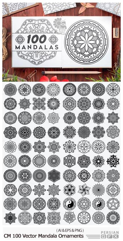 دانلود 100 تصویر وکتور گل های تزئینی ماندالا - CM 100 Vector Mandala Ornaments