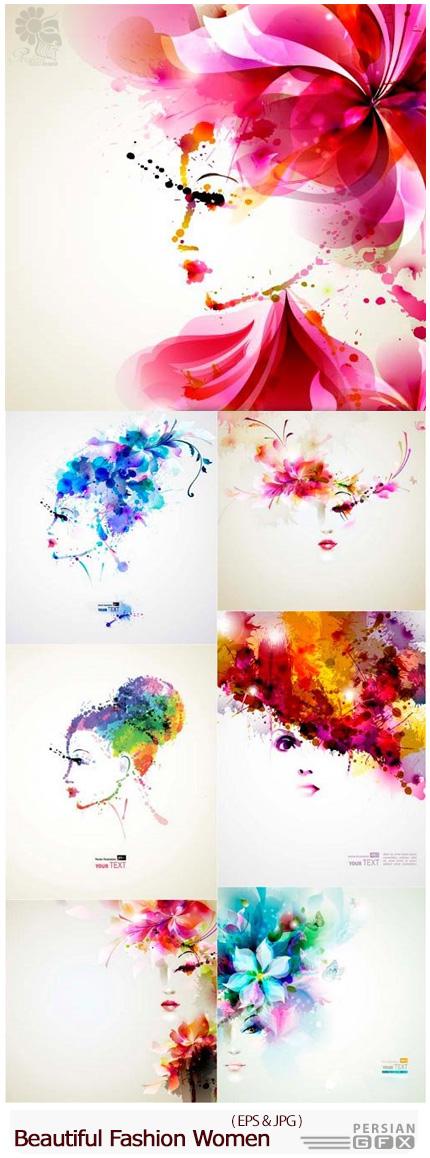 دانلود تصاویر وکتور دختران فشن زیبا - Beautiful Fashion Women