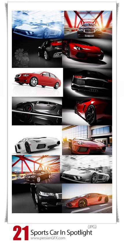 دانلود تصاویر با کیفیت اتومبیل اسپرت لوکس در پس زمینه مشکی و نورانی - Sports Car In Spotlight Black Background Shiny New Luxurious