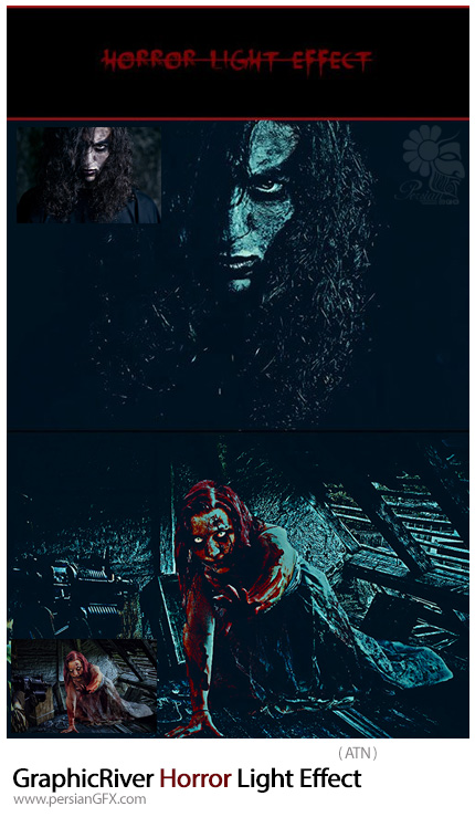 دانلود اکشن فتوشاپ ایجاد افکت نورانی ترسناک بر روی تصاویر از گرافیک ریور - GraphicRiver Horror Light Effect