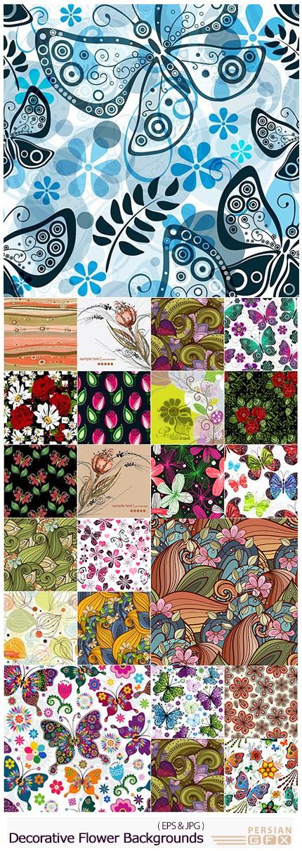دانلود تصاویر وکتور پس زمینه های گلدار تزئینی - Decorative Flower Backgrounds Big Collection