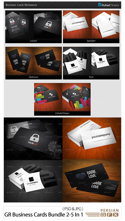 دانلود مجموعه تصاویر لایه باز کارت ویزیت با طرح های گرافیکی از گرافیک ریور - Graphicriver Business Cards Bundle 2-5 In 1