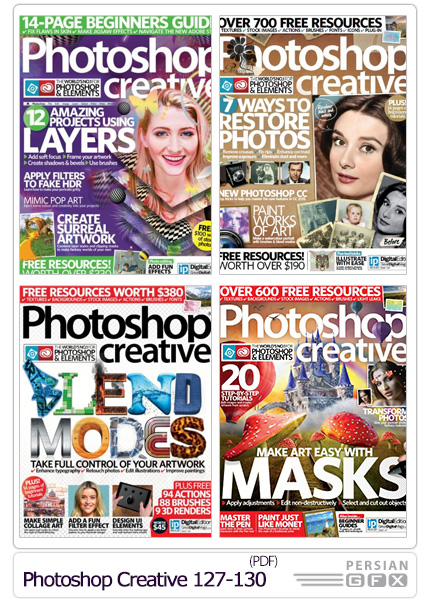 دانلود مجله آموزش های متنوع فتوشاپ - Photoshop Creative 127-130 2015