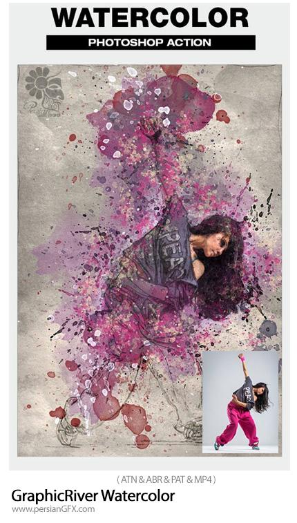 دانلود اکشن فتوشاپ تبدیل تصاویر به نقاشی آبرنگی به همراه آموزش ویدئویی از گرافیک ریور - GraphicRiver Watercolor