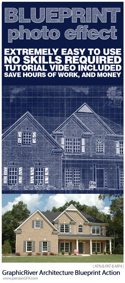 دانلود اکشن فتوشاپ تبدیل تصاویر به طرح چاپی آبی رنگ معماری به همراه آموزش ویدئویی از گرافیک ریور - GraphicRiver Architecture Blueprint Generator Action