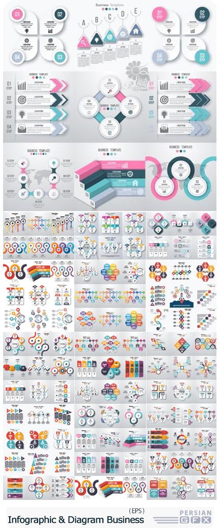 دانلود تصاویر وکتور قالب آماده نمودارهای اینفوگرافیکی تجاری - Infographic And Diagram Business Design Vector