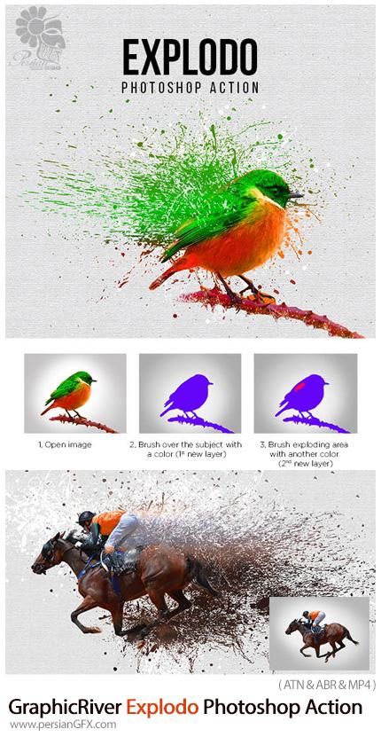 دانلود اکشن فتوشاپ ایجاد افکت انفجار رنگ بر روی تصاویر به همراه آموزش ویدئویی از گرافیک ریور - GraphicRiver Explodo Photoshop Action