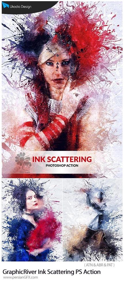 دانلود اکشن فتوشاپ ایجاد افکت پراکندگی جوهر بر روی تصاویر از گرافیک ریور - GraphicRiver Ink Scattering Photoshop Action