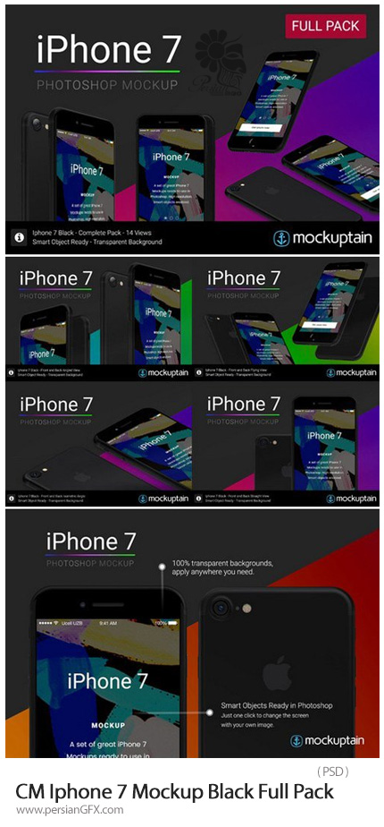 دانلود موکاپ لایه باز آیفون 7 در زاویه های مختلف - CM Iphone 7 Mockup Black Full Pack