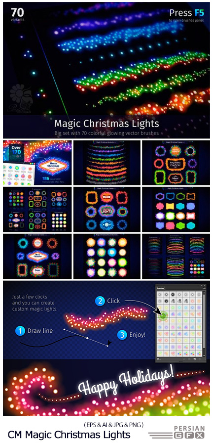 دانلود مجموعه تصاویر وکتور عناصر طراحی نورهای جادویی کریسمس - CM Magic Christmas Lights