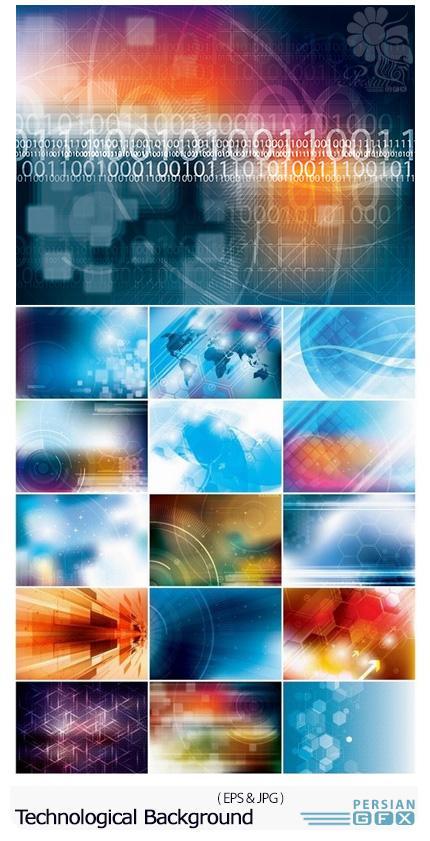 دانلود تصاویر وکتور پس زمینه با طرح های انتزاعی تکنولوژی و فن آوری - Abstract Future Futuristic Technological Background