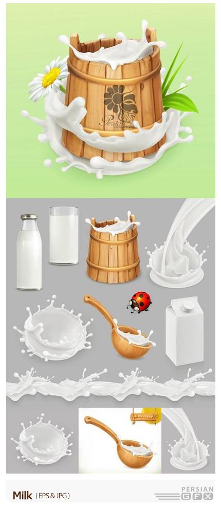 دانلود تصاویر وکتور شیر، پاکت شیر، شیشه شیر، شیر ریخته شده، سطل شیر - Milk
