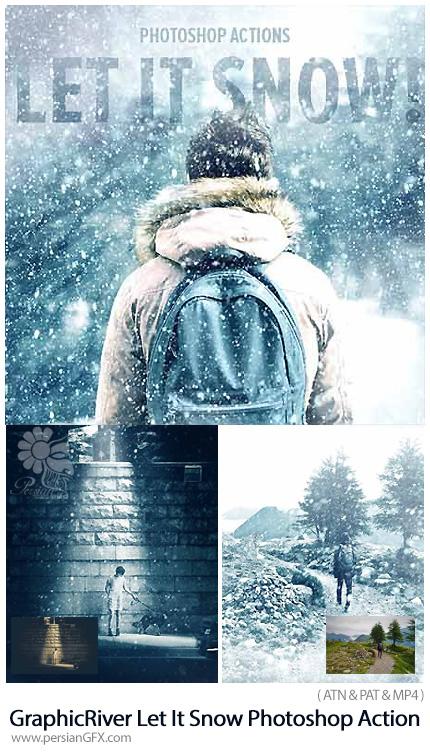 دانلود اکشن فتوشاپ ایجاد افکت بارش برف بر روی تصاویر به همراه آموزش ویدئویی از گرافیک ریور - GraphicRiver Let It Snow Photoshop Action
