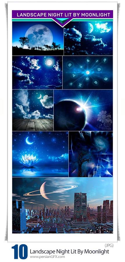 دانلود تصاویر با کیفیت منظره شب نورانی با ماه - Landscape Night Lit By Moonlight