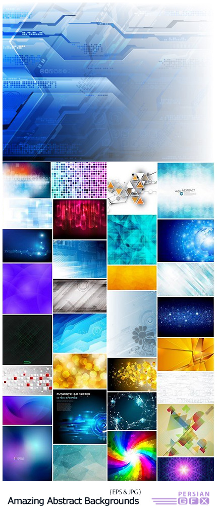 دانلود مجموعه تصاویر وکتور پس زمینه با طرح های انتزاعی متنوع - Amazing Abstract Backgrounds Collection