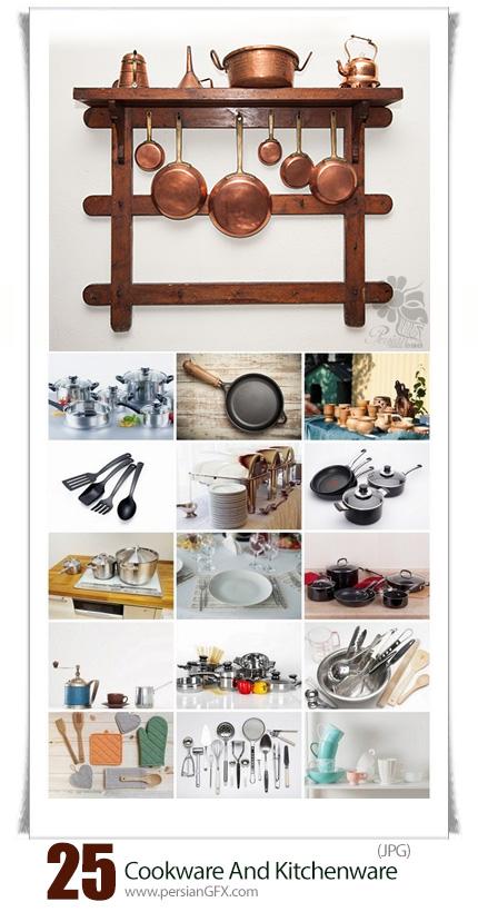 دانلود تصاویر با کیفیت وسایل آشپزی و آشپزخانه، ظروف، قابلمه، کفگیر، قوری و ... - Cookware And Kitchenware On A KitchenTable