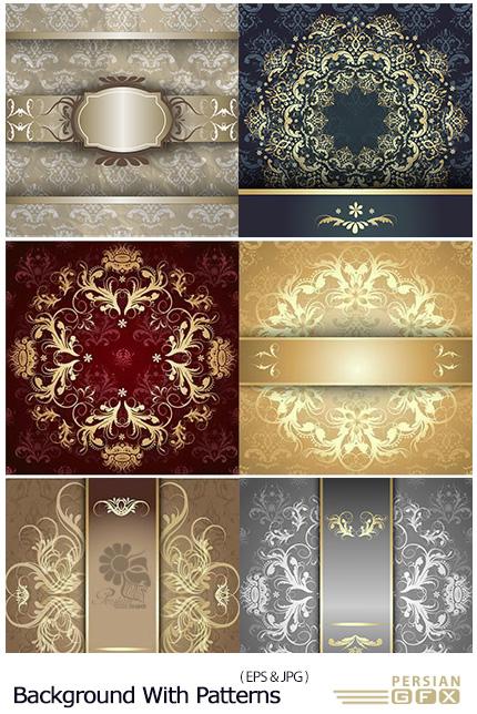 دانلود تصاویر وکتور پس زمینه های تزئینی به همراه فریم - Stock Luxury Background With Golden Patterns