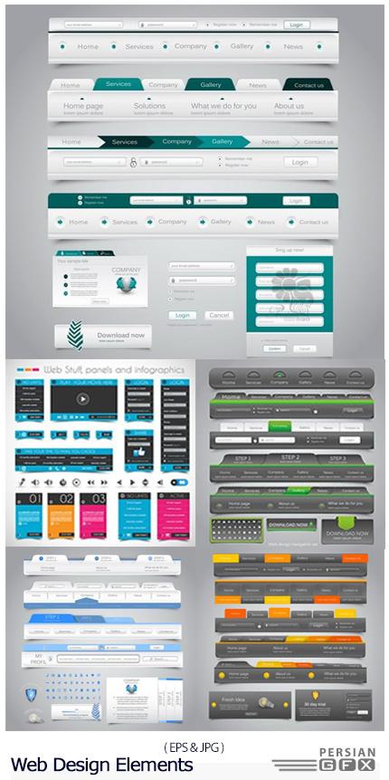 دانلود تصاویر وکتور قالب آماده عناصر طراحی وب سایت - Web Design Elements