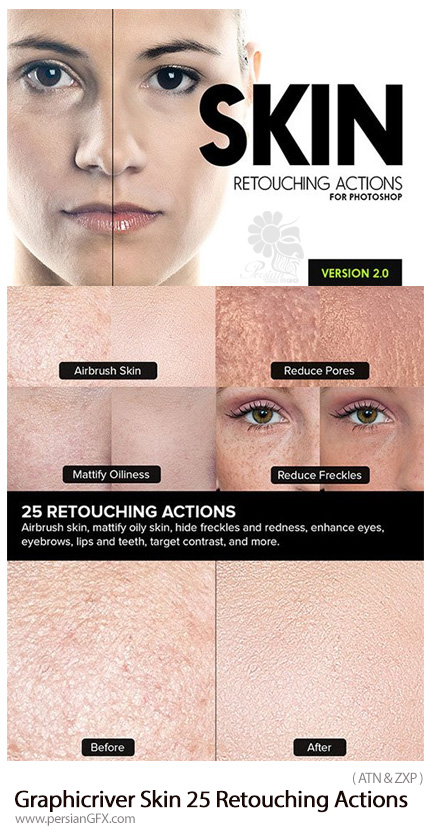 دانلود اکشن و پلاگین فتوشاپ 25 افکت رتوش حرفه ای پوست از گرافیک ریور - Graphicriver Skin 25 Retouching Actions