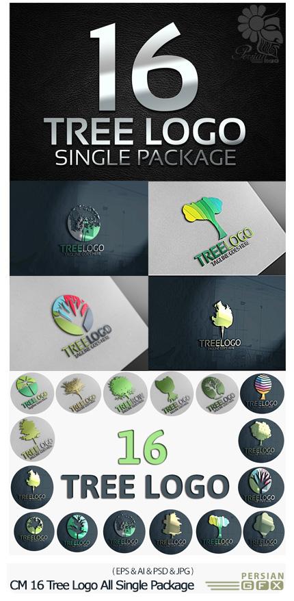 دانلود 16 تصویر وکتور لوگوی درخت - CM 16 Tree Logo All Single Package