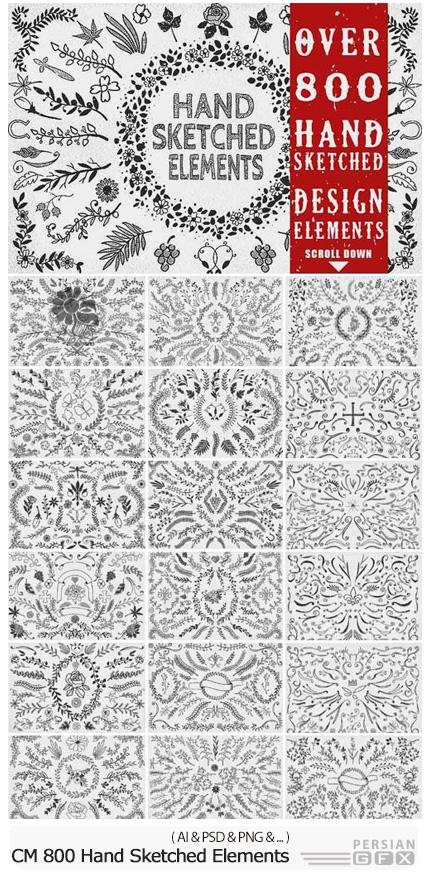 دانلود بیش از 800 تصویر وکتور عناصر تزئینی، گل و بوته، روبان و ... - CM 800 Unique Hand Sketched Elements
