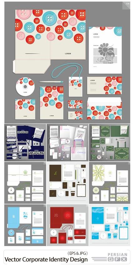 دانلود مجموعه تصاویر وکتور قالب آماده ست اداری، کارت ویزیت، بروشور، سربرگ و ... - Vector Corporate Identity Design Style For Brandbook And Guideline