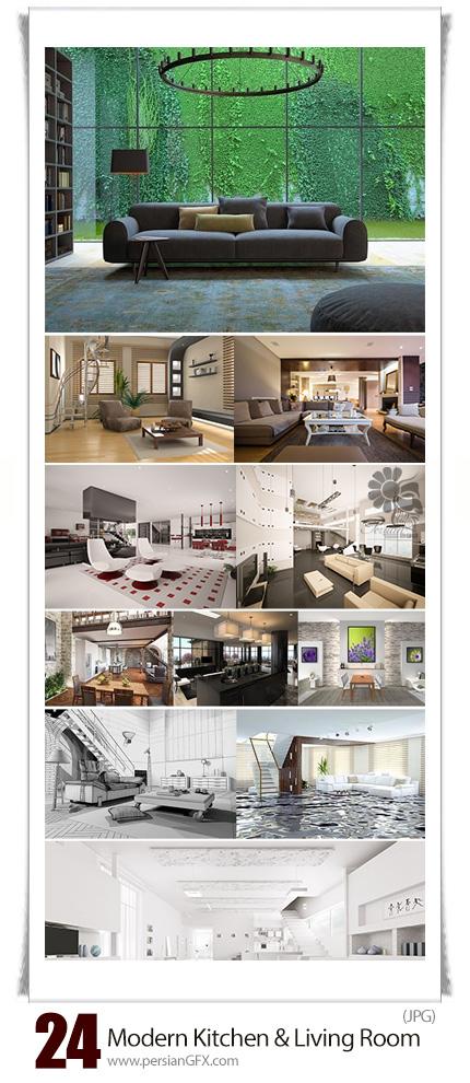 دانلود تصاویر با کیفیت طراحی داخلی خانه مدرن، سالن پذیرایی، مهمانخانه، آشپزخانه و ... - Modern Loft With A Kitchen And Living Room