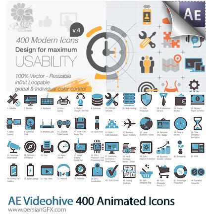 دانلود پروژه آماده افترافکت 400 آیکون متحرک متنوع به همراه آموزش ویدئویی از ویدئوهایو - Videohive 400 Animated Icons After Effects Project