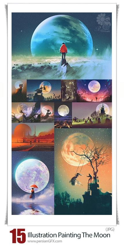 دانلود تصاویر هنری نقاشی با پس زمینه ماه با کیفیت بالا - Illustration Painting With The Moon In The Background