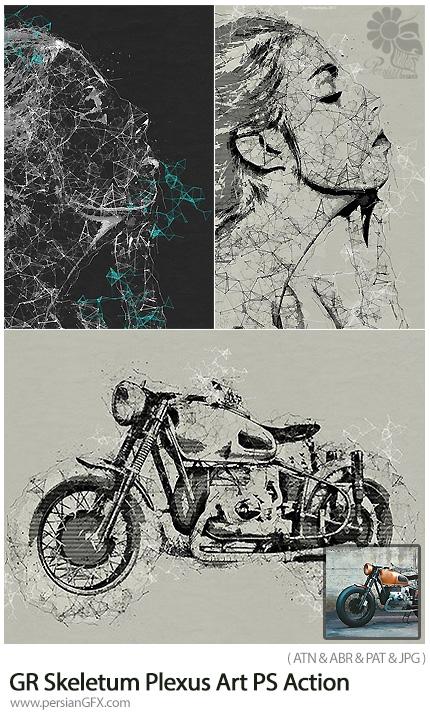 دانلود اکشن فتوشاپ تبدیل تصاویر به طرح اولیه پیچ در پیچ هنری به همراه آموزش ویدئویی از گرافیک ریور - Graphicriver Skeletum Plexus Art Photoshop Action