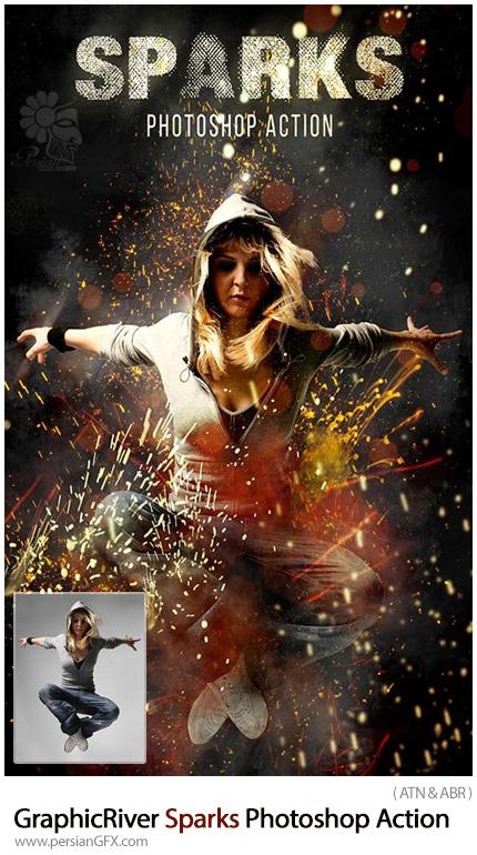 دانلود اکشن فتوشاپ ایجاد افکت جرقه بر روی تصاویر به همراه آموزش ویدئویی از گرافیک ریور - GraphicRiver Sparks Photoshop Action