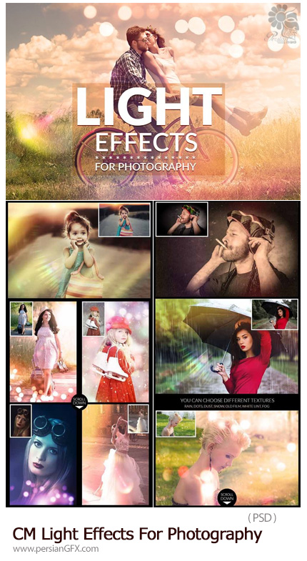 دانلود افکت های لایه باز نورانی برای عکاسی به همراه آموزش ویدئویی - CM Light Effects For Photography