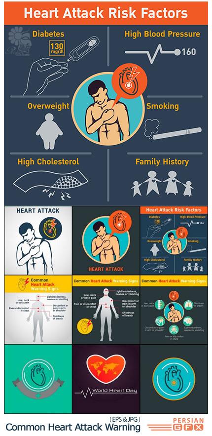 دانلود مجموعه تصاویر وکتور حملات قلبی خطرناک، پزشکی، قلب و عروق - Common Heart Attack Warning