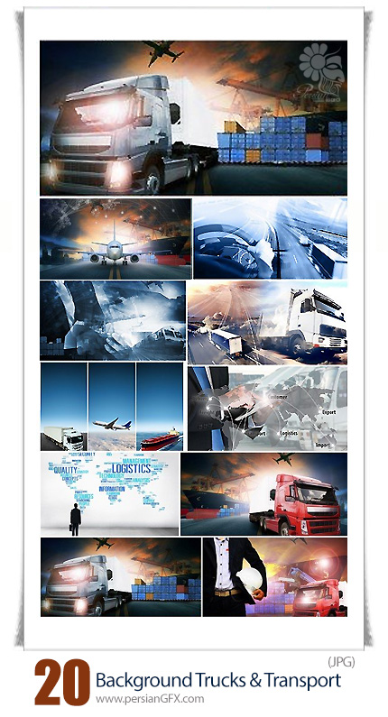 دانلود تصاویر با کیفیت وسایل حمل و نقل، کامیون، قطار، هواپیما - Abstract Background Trucks And Transport
