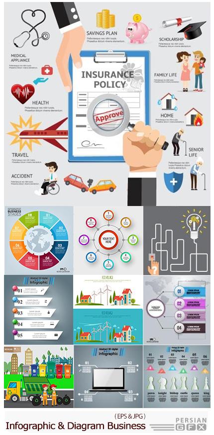 دانلود تصاویر وکتور نمودارهای اینفوگرافیکی تجاری با طرح های متنوع - Infographic And Diagram Business Design Vector