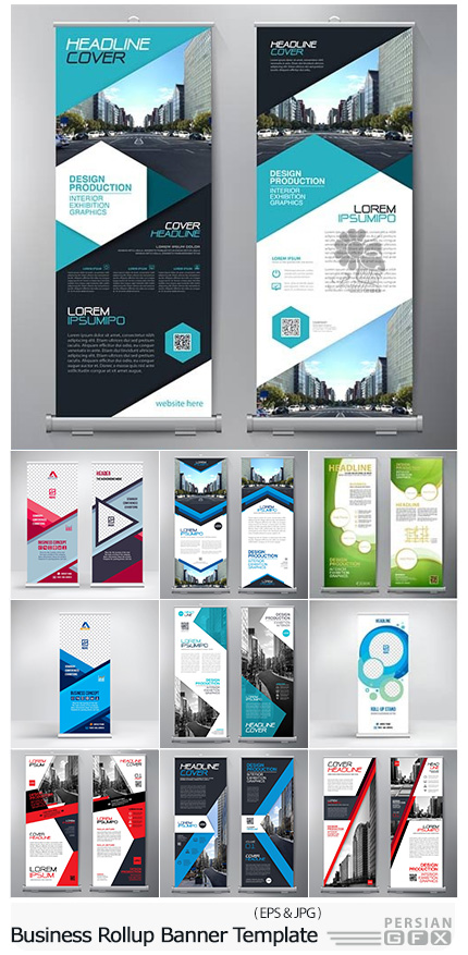 دانلود تصاویر وکتور قالب آماده بنرهای استند تجاری - Business Rollup Banner Template