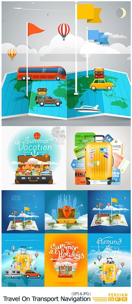 دانلود تصاویر وکتور سفر با نقشه، چمدان و وسایل نقلیه - Travel On Transport Navigation And Baggage Illustration