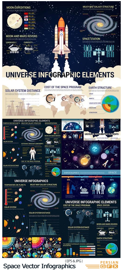 دانلود تصاویر وکتور عناصر طراحی نمودارهای اینفوگرافیکی فضا، سیارات، فضانورد، کهکشان و ... - Space Vector Infographics