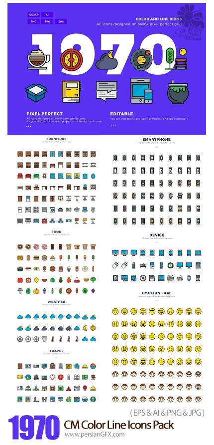 دانلود 1970 آیکون خطی متنوع وب، تجاری، نقشه، آب و هوا و ... - CM 1970x2 Color Line Icons Pack