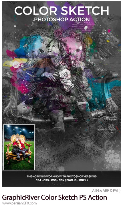 دانلود اکشن فتوشاپ تبدیل تصاویر به طرح اولیه نقاشی رنگی از گرافیک ریور - GraphicRiver Color Sketch Photoshop Action