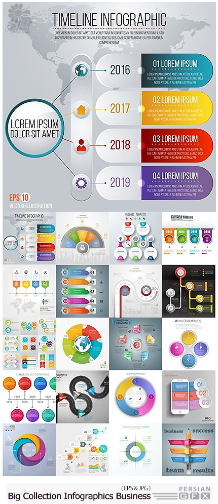 دانلود مجموعه تصاویر وکتور نمودارهای اینفوگرافیکی تجاری متنوع - Big Collection Modern Infographics Business Elements