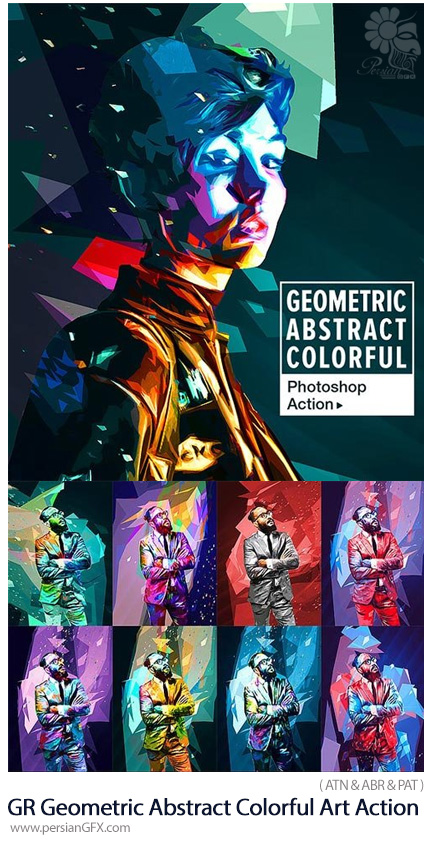 دانلود اکشن فتوشاپ ساخت تصاویر هنری چند ضلعی رنگارنگ به همراه آموزش ویدئویی از گرافیک ریور - GraphicRiver Geometric Abstract Colorful Art Photoshop Action