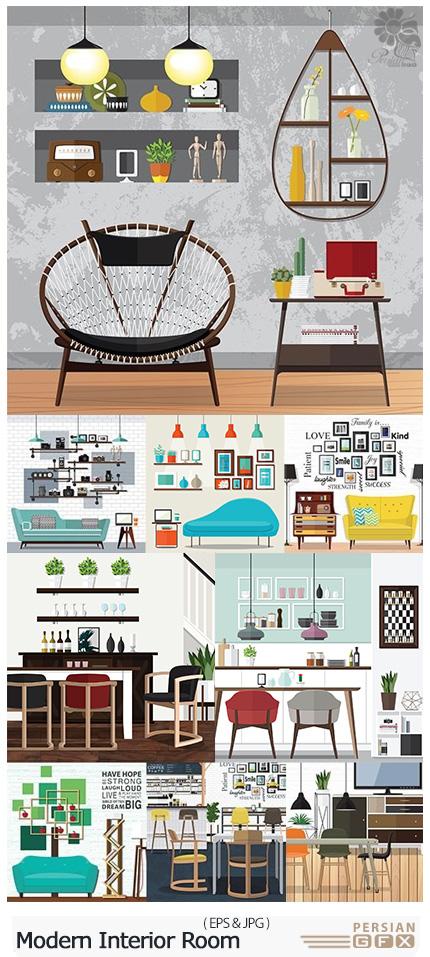 دانلود تصاویر وکتور طراحی داخلی اتاق، کافی شاپ، آشپزخانه با مبلمان و عناصر تزئینی - Modern Interior Room Stylish Furniture And Elements Decor