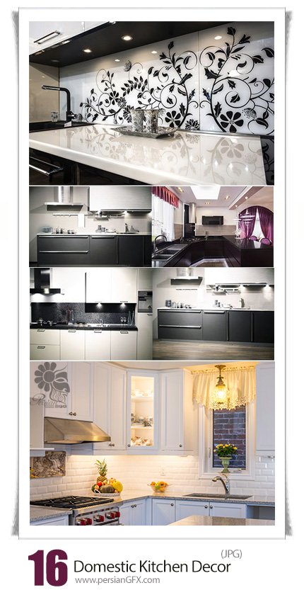 دانلود تصاویر با کیفیت طراحی داخلی دکور آشپزخانه - Domestic Kitchen Decor