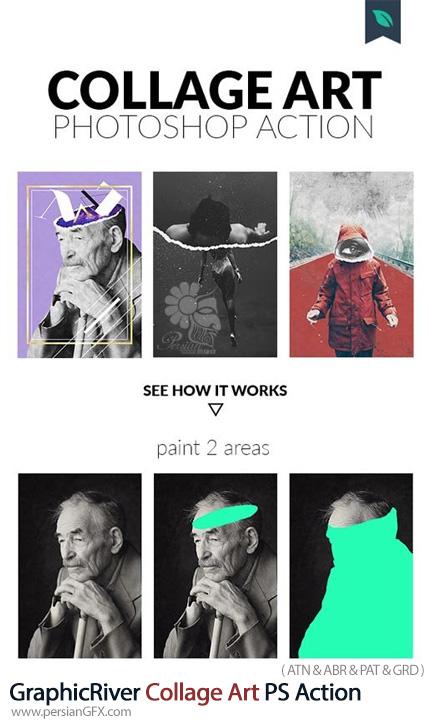 دانلود اکشن فتوشاپ ساخت تصاویر هنری کلاژ به همراه آموزش ویدئویی از گرافیک ریور - GraphicRiver Collage Art Photoshop Action